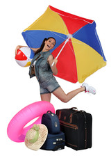 Young woman excited to go on vacation