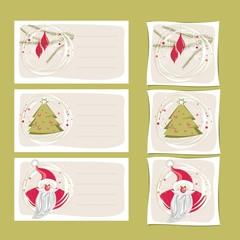 świąteczne plakietki zieleń i czerwień