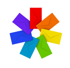 Round pile of colorful envelopes isolated on white