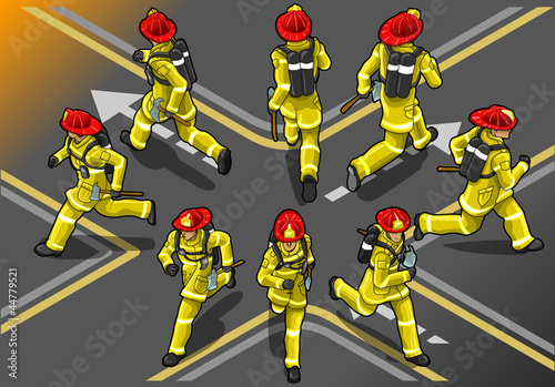 isometric runner firefighter in eight position