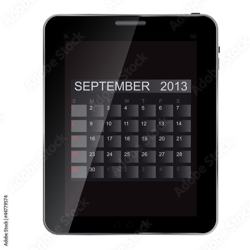 2013 year calendar on abstract  design Tablet. Vector illustrati