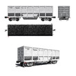 Projections of modern white carriage for coal transportation
