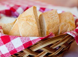 Sliced bread in a bread basket