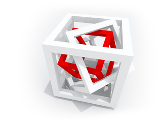 One red wire-frame cube inside of two white