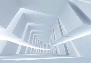 Abstract architecture with white bent futuristic interior