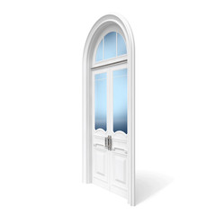 White wooden door with reflected glass sections