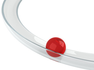 red ball rolling down on the helix tray