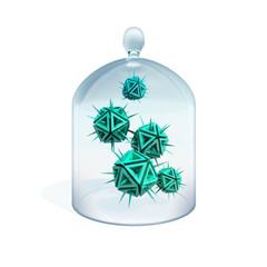 Viruses in quarantine as a green danger sharp objects