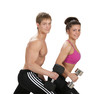 woman and man with dumbbells