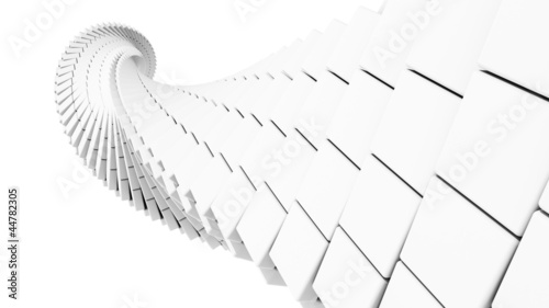 helix made of white chamfer boxes
