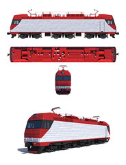 Projections and perspective of modern electric locomotive