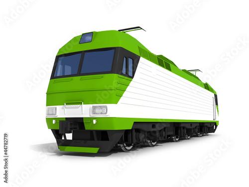 Modern green electric locomotive