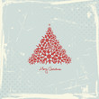 Red Christmas Tree Snowflakes Retro Background