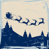 Christmas Sleigh 4 Flying Reindeers Blue Retro Beige Background