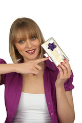 Woman holding a present