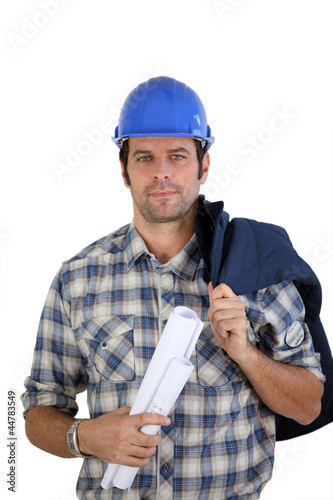 Engineer holding plans