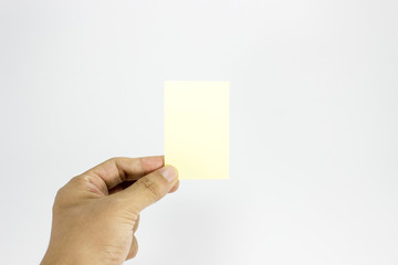 Man hand hold yellow post it