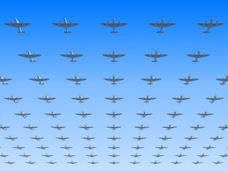 Massed formation of soviet version of fighters
