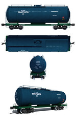 Rrojections and perspective view of the modern blue tank car