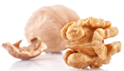 Walnuts isolated on the white background, closeup