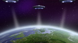 UFO invasion above earth. NASA image used.