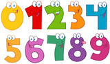 Fototapety Funny Numbers Cartoon Characters