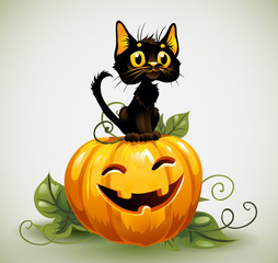 Black cat on a Halloween pumpkin.