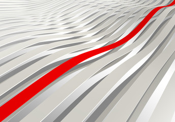 Abstract background. White 3d wave stripes with one red