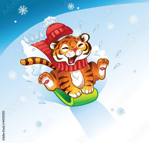 Lucky Tiger sledding with the snowy mountain.