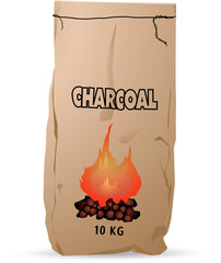 10 kg Charcoal paper bag icon.