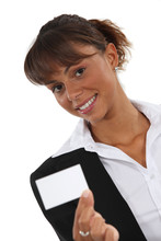 Woman Holding A Business Card Sticker