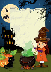 Little witch with parchment