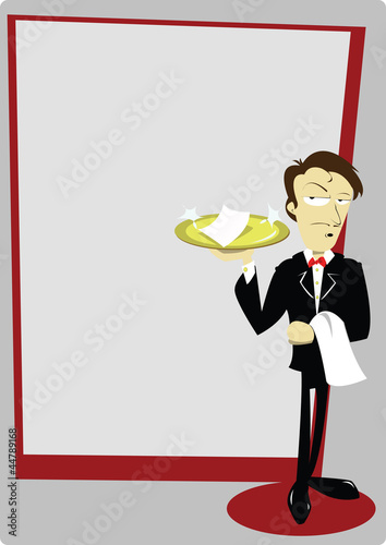 Funny Waiter with copy space