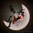 Sexual witch sits on the moon, vector illustration
