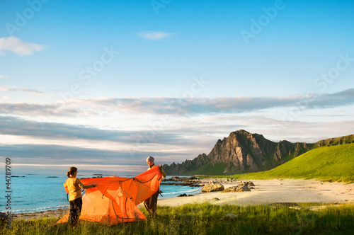 couple with tent
