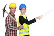 businesswoman and craftsman going to the construction site