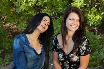 two women staring at something or someone