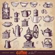 Coffee or tea? - set of vintage design elements