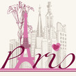 Paris card urban architecture and lily