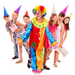 Birthday party group of teen with clown.