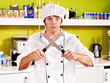 Male wearing chef uniform.