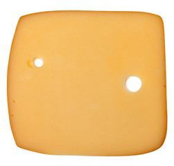 Slice of cheese isolated on white background