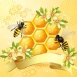Background with bees, honeycomb and  flowers