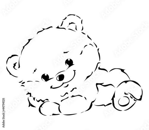 泰迪熊漫画熊玩具白色背景童年线绘图绘画艺术褐色软