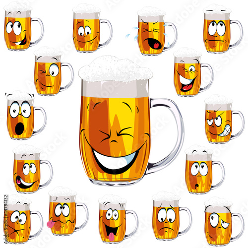 Mug fresh beer cartoon with cap of foam