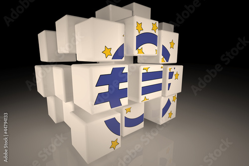 European Central Bank symbol in chaotic cubes
