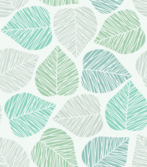 Seamless stylized leaf pattern. Vector illustration