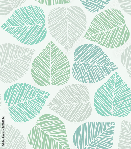 Fototapeta na wymiar Seamless stylized leaf pattern. Vector illustration