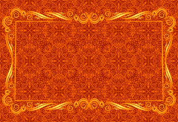 Gold frame on red pattern.