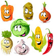 funny vegetable and spice cartoon